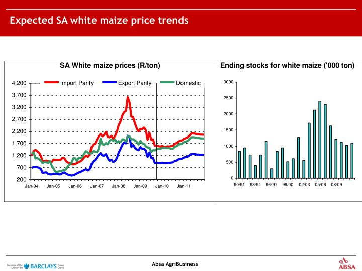 Expected SA white maize price trends