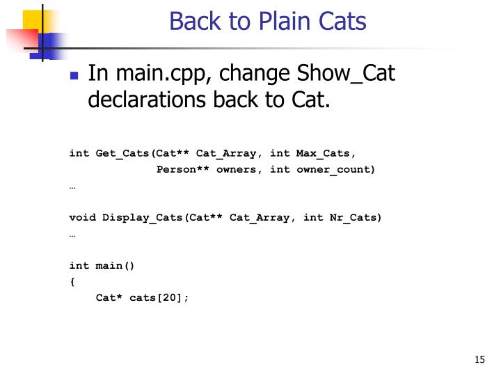Back to Plain Cats