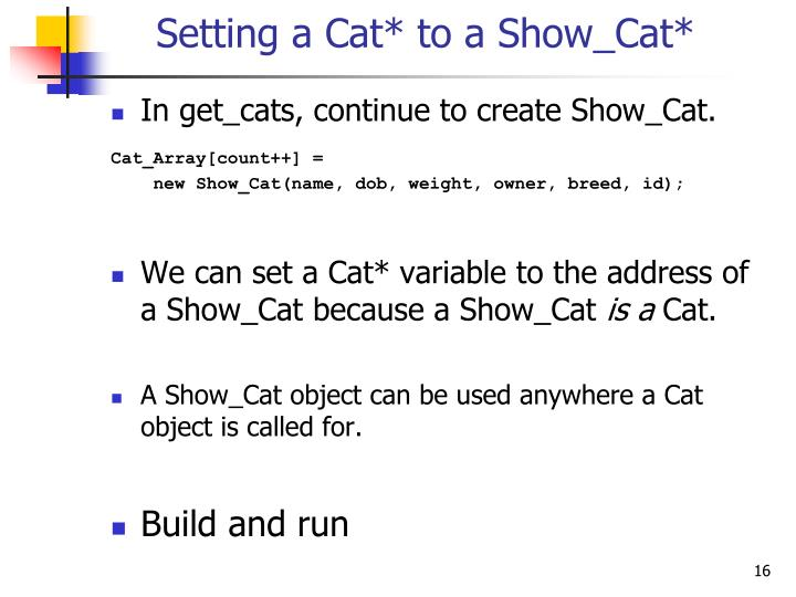 Setting a Cat* to a Show_Cat*