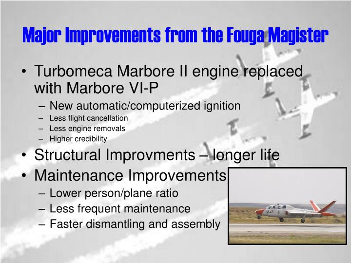Major Improvements from the Fouga Magister