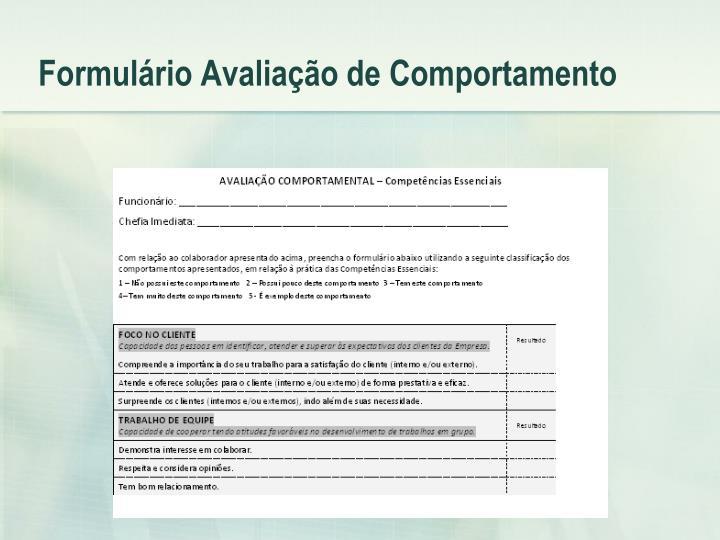 Formulário Avaliação de Comportamento