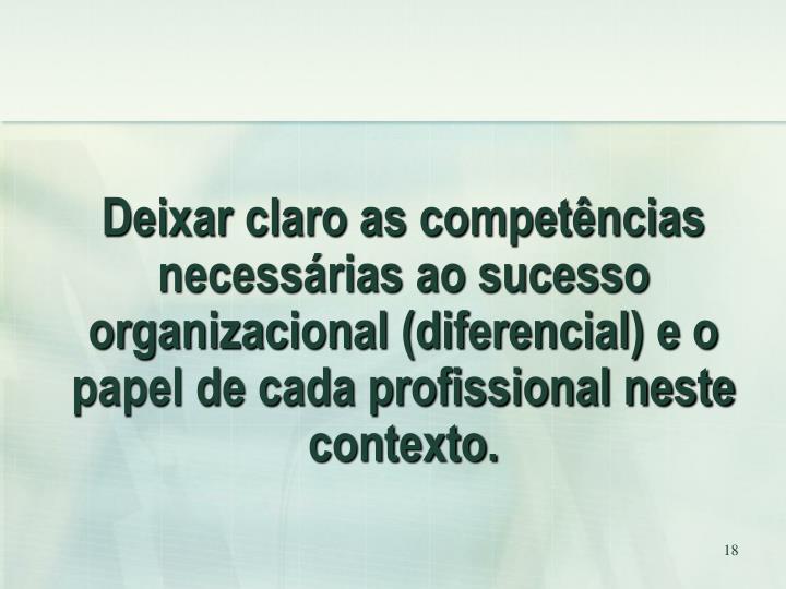 Deixar claro as competências necessárias ao sucesso organizacional (diferencial) e o papel de cada profissional neste contexto.