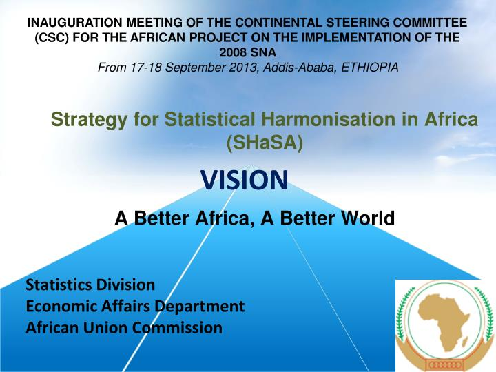INAUGURATION MEETING OF THE CONTINENTAL STEERING COMMITTEE (CSC) FOR THE AFRICAN PROJECT ON THE IMPL...