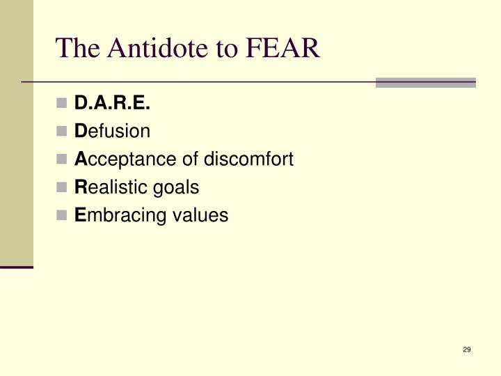 The Antidote to FEAR
