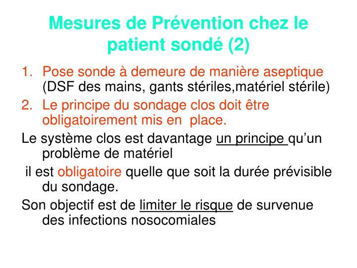Mesures de Prévention chez le patient sondé (2)