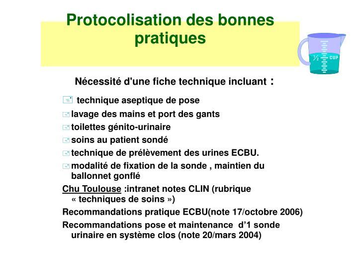 Protocolisation des bonnes pratiques