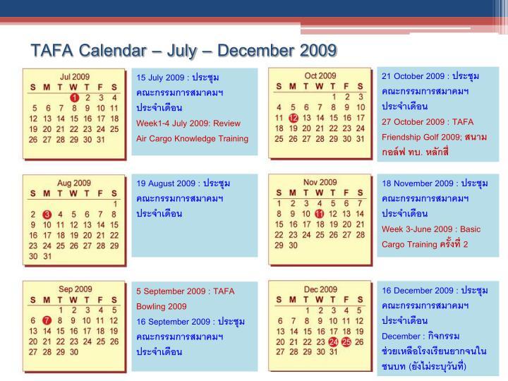 TAFA Calendar – July – December 2009