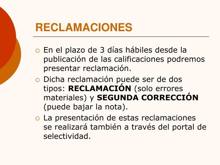 RECLAMACIONES