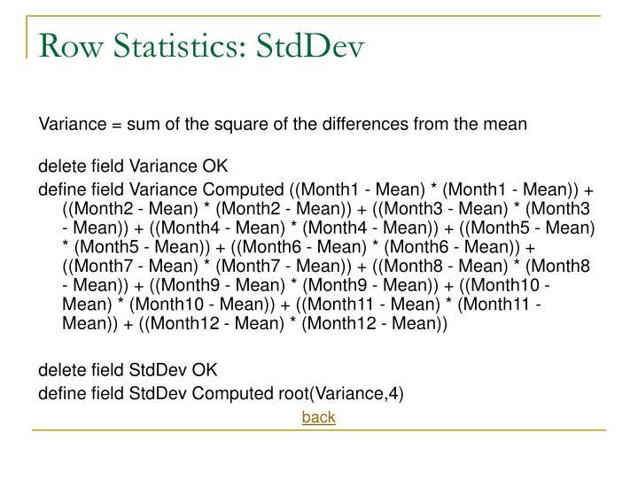 Row Statistics: StdDev