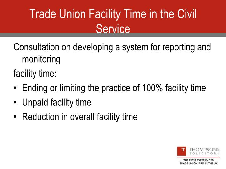 Trade Union Facility Time in the Civil Service