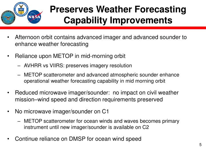 Preserves Weather Forecasting Capability Improvements