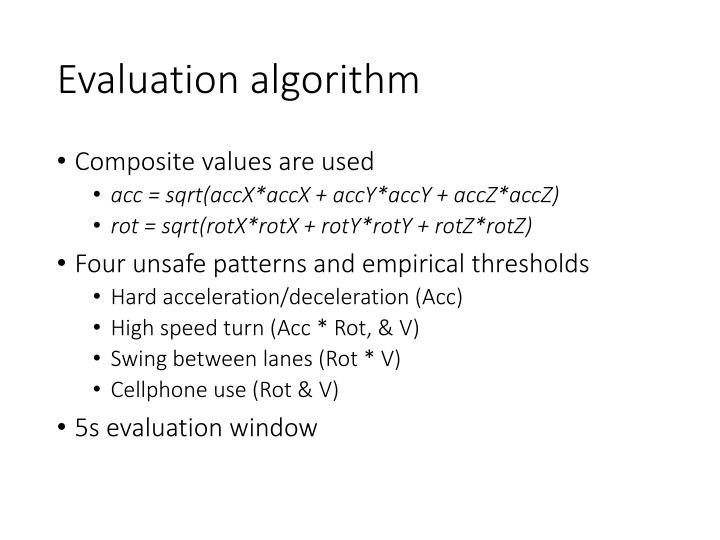 Evaluation algorithm