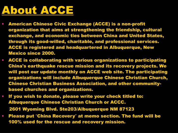 About ACCE