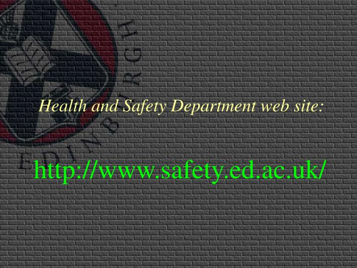 Health and Safety Department web site: