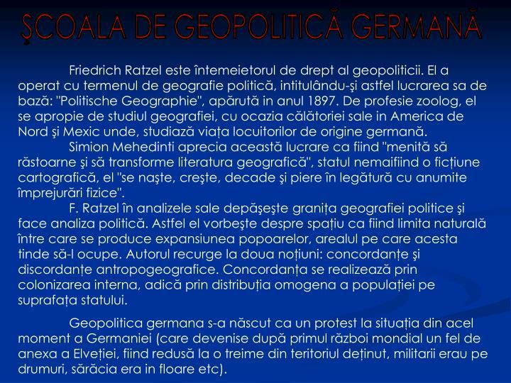 ŞCOALA DE GEOPOLITICĂ GERMANĂ