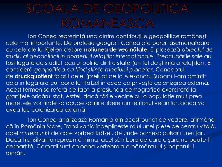 SCOALA DE GEOPOLITICA