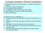 example questions perfect competition