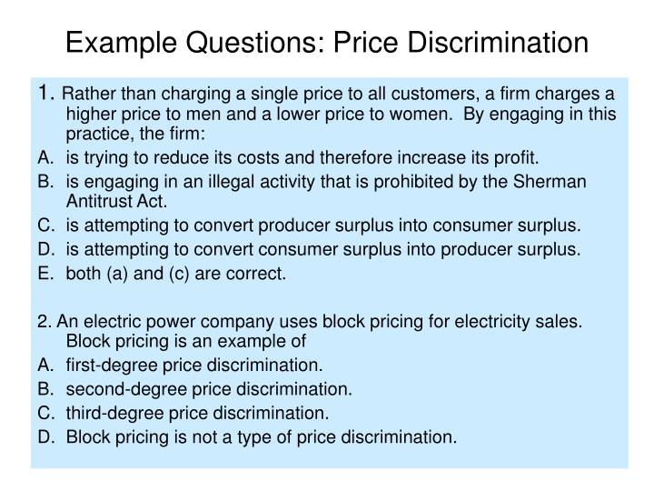 Example Questions: Price Discrimination
