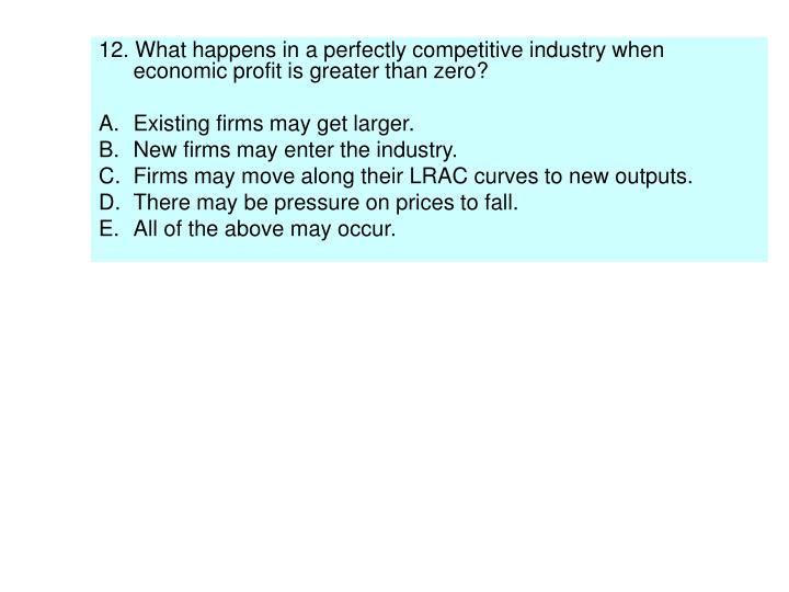 12. What happens in a perfectly competitive industry when economic profit is greater than zero?