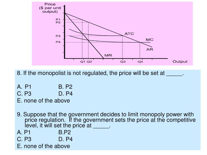 8. If the monopolist is not regulated, the price will be set at _____.