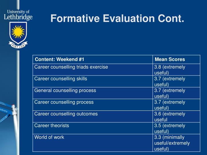 Formative Evaluation Cont.