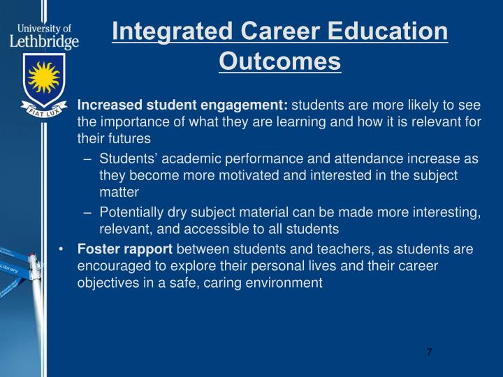 Integrated Career Education Outcomes