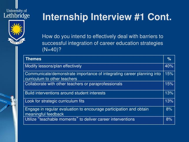 Internship Interview #1 Cont.