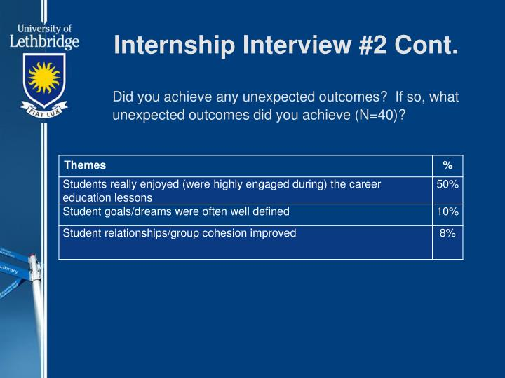Internship Interview #2 Cont.
