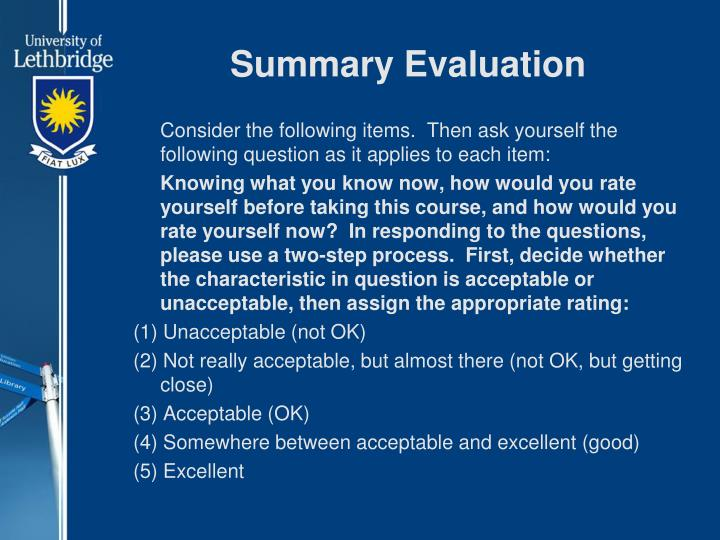 Summary Evaluation