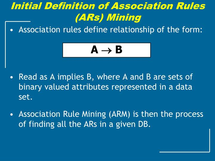 Initial Definition of Association Rules (ARs) Mining