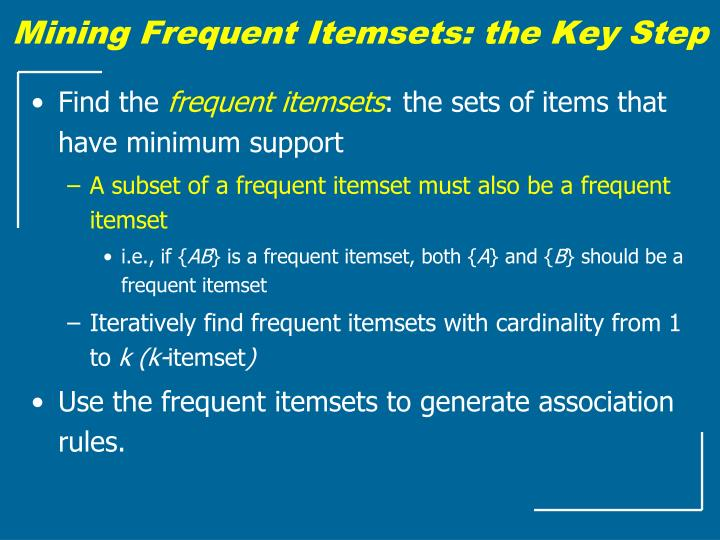 Mining Frequent Itemsets: the Key Step