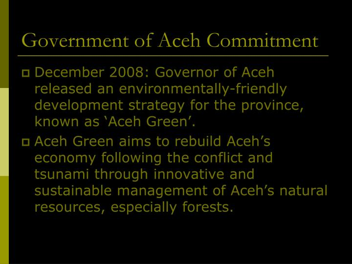 Government of Aceh Commitment