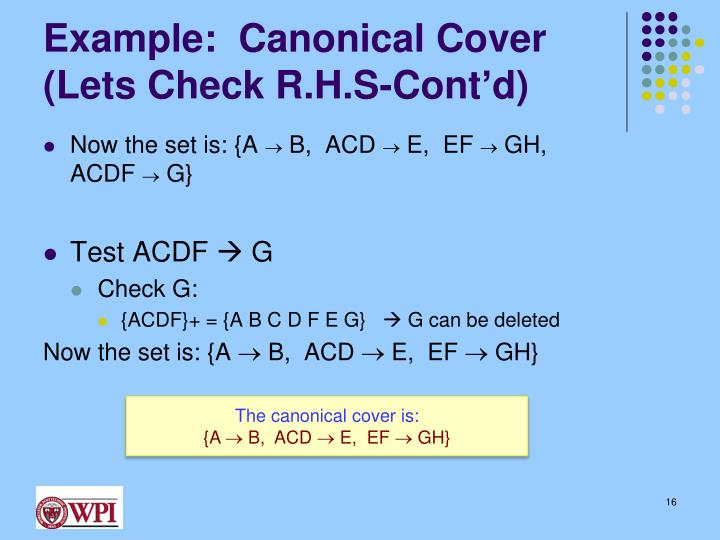 Example:  Canonical Cover