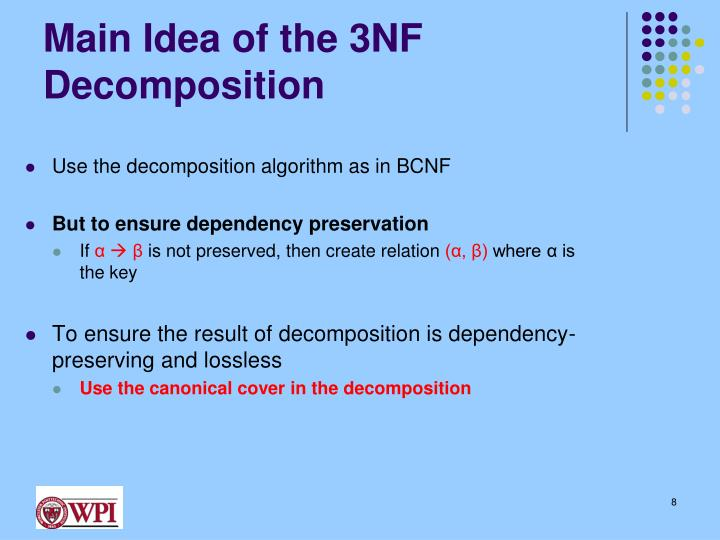 Main Idea of the 3NF Decomposition