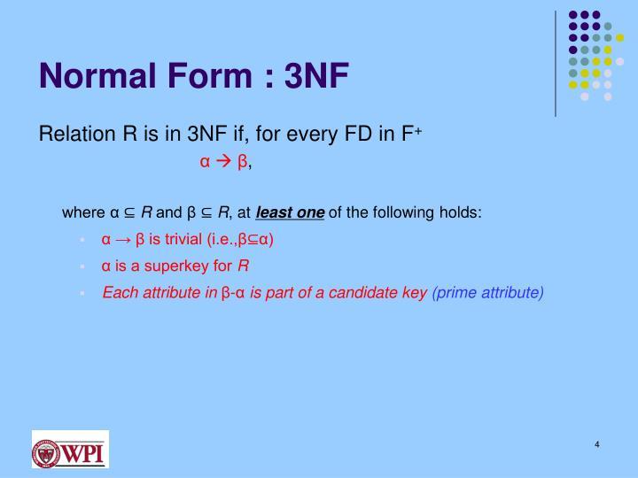 Normal Form : 3NF