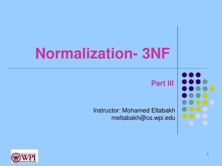 Normalization 3nf