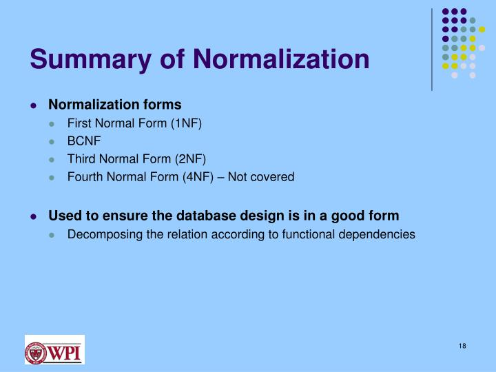 Summary of Normalization