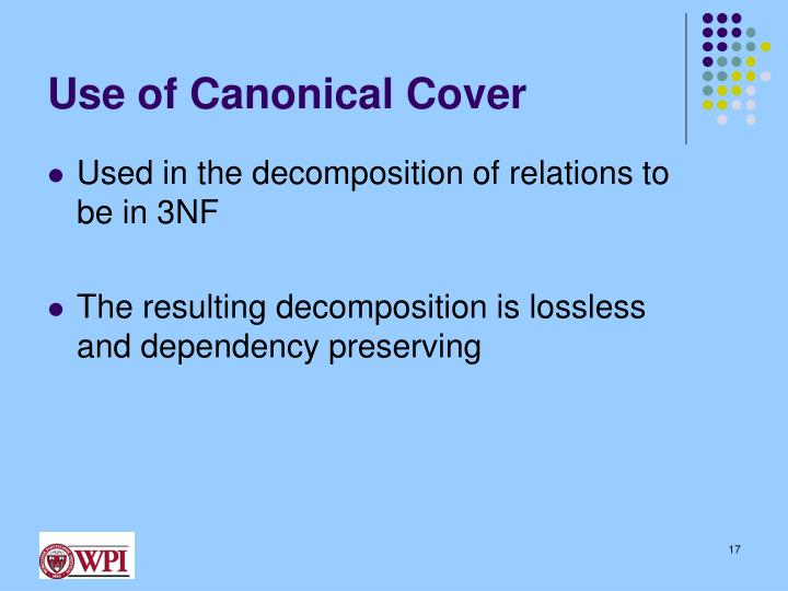 Use of Canonical Cover