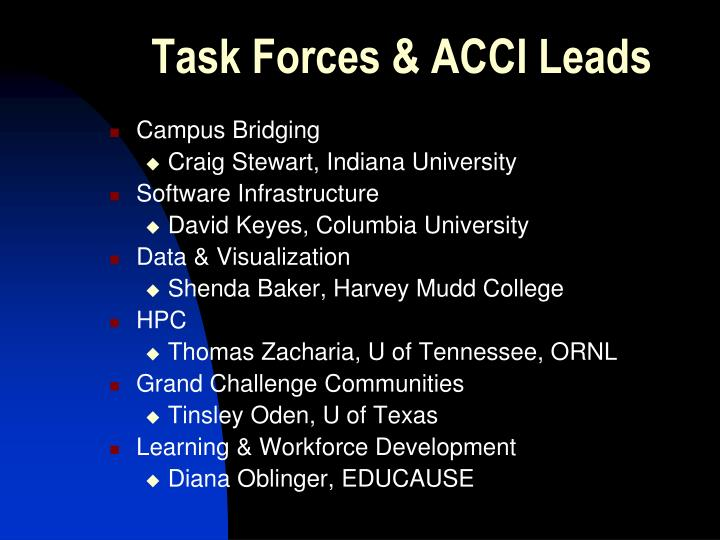 Task Forces & ACCI Leads