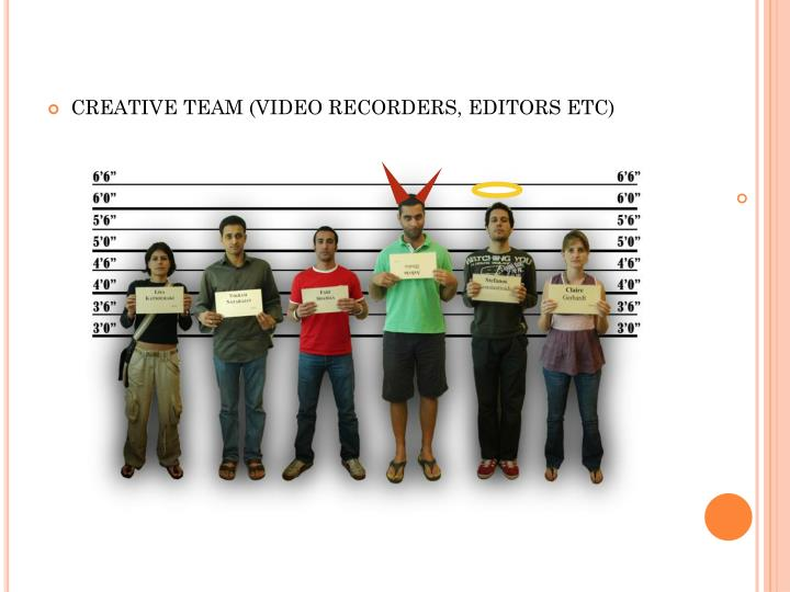 CREATIVE TEAM (VIDEO RECORDERS, EDITORS ETC)