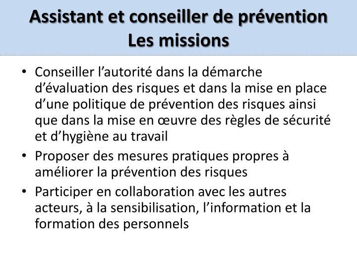 Assistant et conseiller de prévention