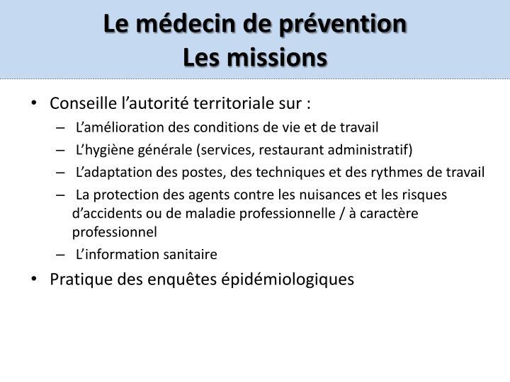 Le médecin de prévention