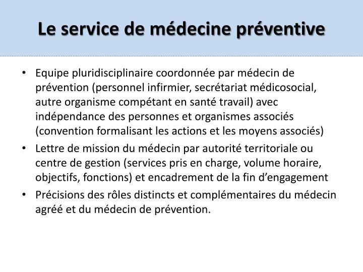 Le service de médecine préventive