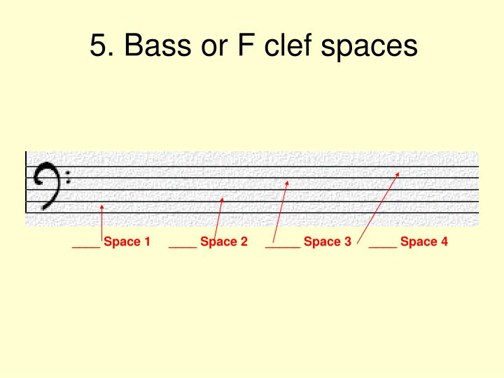 5. Bass or F clef spaces