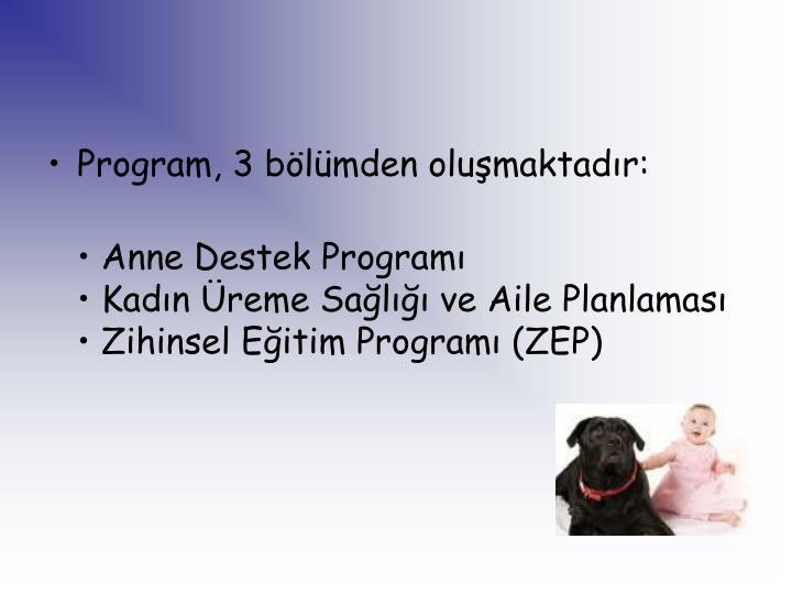 Program, 3 blmden olumaktadr: