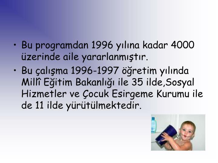 Bu programdan 1996 yılına kadar 4000 üzerinde aile yararlanmıştır.