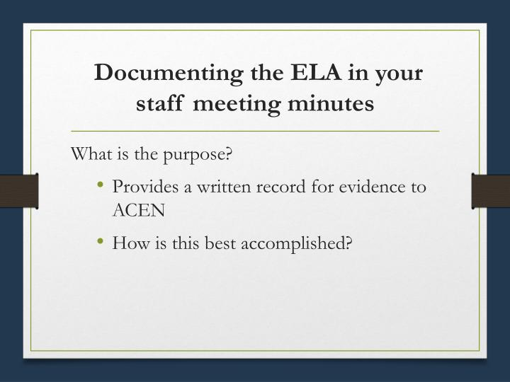Documenting the ELA in your staff meeting minutes