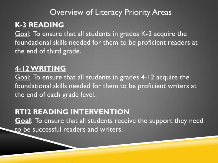 Overview of Literacy Priority Areas
