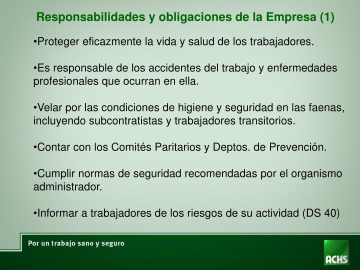 Responsabilidades y obligaciones de la Empresa (1)