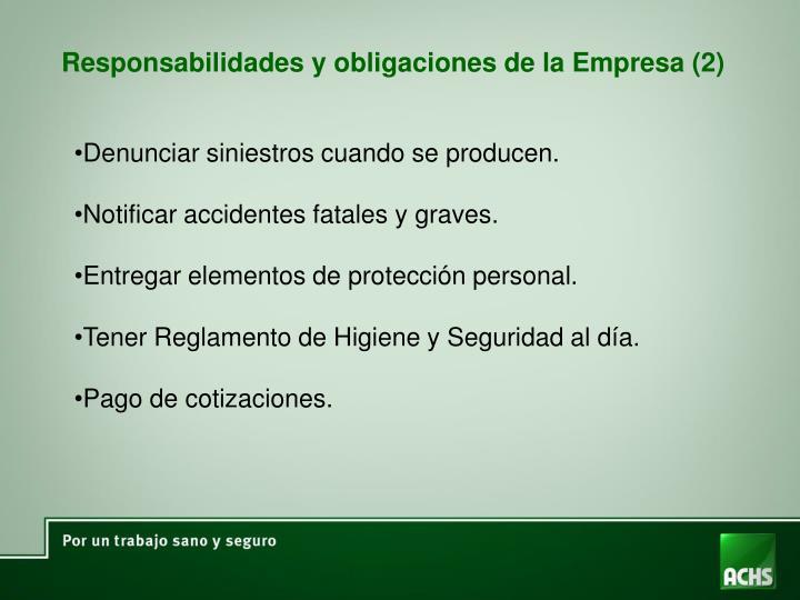 Responsabilidades y obligaciones de la Empresa (2)
